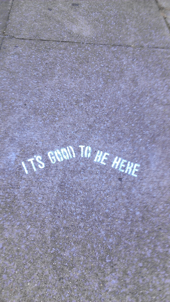 Did you think to spray paint this onto the broken sidewalk?  I sure didn't.